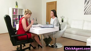 Classy casting lesbians finger fuck in office